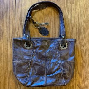 Fossil Live Vintage Satchel Handbag Purse Brown